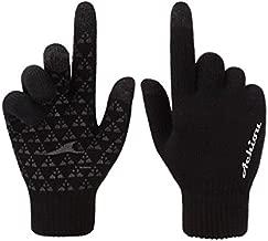 Achiou Winter Warm Touchscreen Gloves for Women Men Knit Wool Lined Texting (Black)
