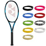 YONEX EZONE 100 Deep Blue Tennis Racquet in 4 1/2' Grip Strung with Blue Synthetic Gut Racket String...