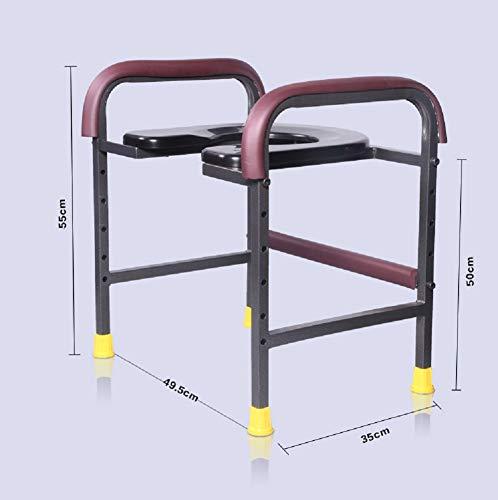 EDAHBJNEST5MK Klappbarer Toilettenstuhl mit Toilettenstuhl für ältere Menschen, tragbarer Closestool, Nachttisch, Toilettenstuhl, für Senioren, Behinderte, Toilettenstuhl, Schwarz, Herren, Schwarz, A