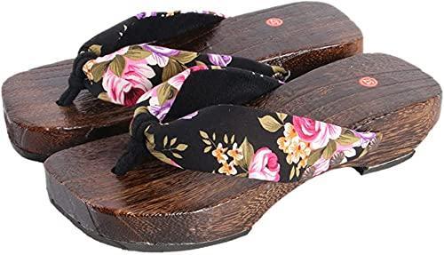 Sandalias Japonesas Cosplay Zuecos Zapatos Japonés Zuecos De Madera Sandalias Mujeres-Negro_4