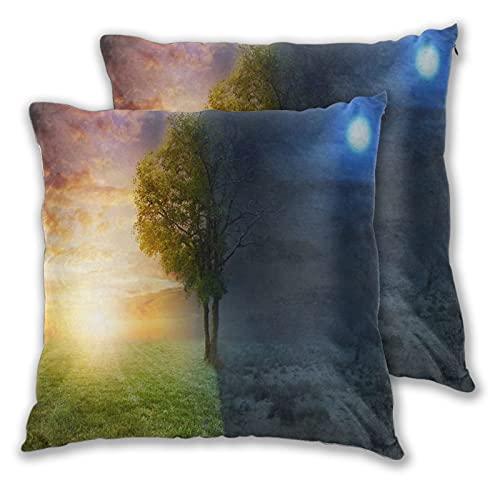 TISAGUER Set di 2 Fodere per Cuscini 45x45cm,Paesaggio notturno e diurno con un singolo...