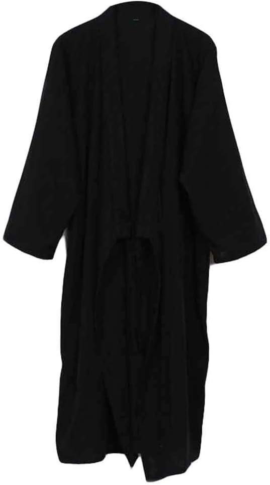 Pigeon Fleet Summer Cotton Men Kimono Yukata Bathrobe Home Sleepwear Nightgown, Black