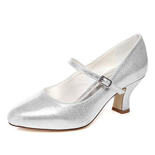 JIAJIA 1722 De Las Mujeres Zapatos de Novia Dedo del pie Cerrado...