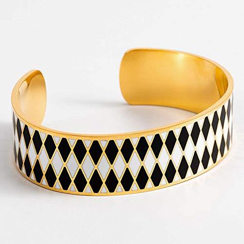 Mes-bijoux.fr Armband, open, Darwin, email, wit en zwart, goudkleurig