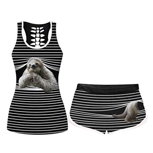 Gofodn Vest for Women UK Plus Size Sale Shorts Set Ladies 3D Animal Print Sleeveless Shirts + Loose Drawstring Shorts