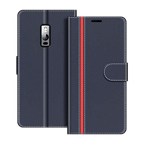 COODIO Handyhülle für OnePlus 2 Handy Hülle, OnePlus 2 Hülle Leder Handytasche für OnePlus 2 Klapphülle Tasche, Dunkel Blau/Rot