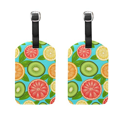 2 Pack Luggage Tags Fruit Citrus Kiwi PU Leather ID Labels with Back Privacy Cover for Travel Bag Suitcase