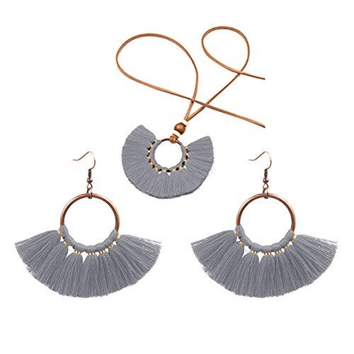 XPT Conjunto de joyería para mujer estilo bohemio redondo colgante flecos borla collar pendientes joyería conjunto gris