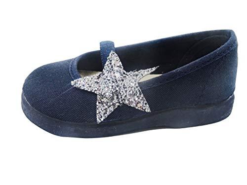PULIDINES - manoletina con Estrella de Brillo y Suela de Goma Bebé niña Talla: 18 Color: Marino