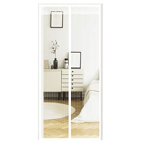 Magnet Fliegengitter Tür 90x200 cm Weiß Insektenschutz Balkontür Fliegenvorhang - Klebmontage ohne Bohren - Vorhang für Balkontür Wohnzimmer Schiebetür Terrassentür