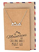 Quan Jewelry Mountain Pendant Necklace for Men and Women, Adventure and Outdoor Lovers, Mountains Jewelry Gift with Greeting Card [並行輸入品]
