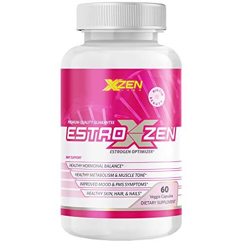 XZEN - Estroxzen Estrogen Balance with DIM, Menopause and PMS Relief, Natural Energy and Reduce Mood Swings, Hormonal Acne Treatment Plus Biotin - 60 Veggie Capsules