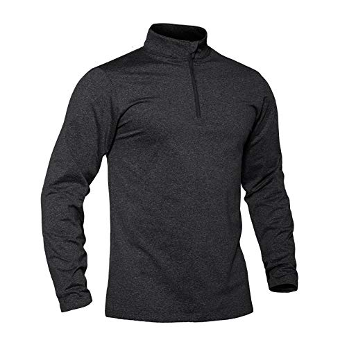 TACVASEN Langarmshirt Herren Sport Laufshirt Langarm Trainingstop 1/2 Zip Funktionsshirt Gym Fitness Tops Jogging Base Layer Winter Warmes Freizeit T-Shirt Thermo Pullover Schwarz