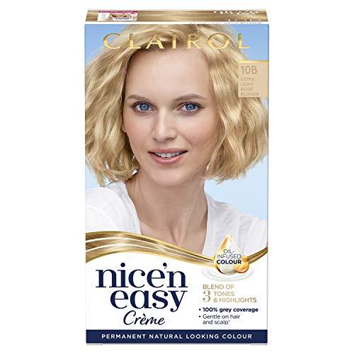 Clairol Nice'n Easy Crème, natürliches Aussehen, mit Öl infundiert, permanente Haarfarbe, 10B extra helles Beige-Blond