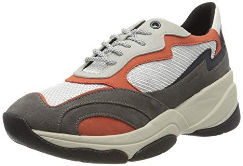 Geox Damen D KIRYA B Sneaker, Grau (Dk Grey/White C9879), 35 EU