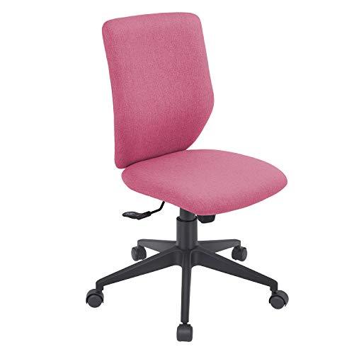 Bowthy Bürostuhl ohne Armlehnen, ergonomischer Computerstuhl, Schreibtischstuhl, ohne Armlehnen, mittellehne, Stoffdrehstuhl (Rose Red)