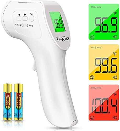 Termómetro de frente, termómetro infrarrojo digital para niños y adultos, termómetro digital sin contacto con lectura instantánea precisa, alarma de fiebre para medir la temperatura corporal (White)