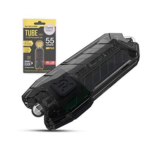 Nitecore TUBE Linterna Llavero V2.0 - Recargable USB 55 Lúmenes Autonomia 58 horas - [Nueva Versión 2021] [NEGRO]