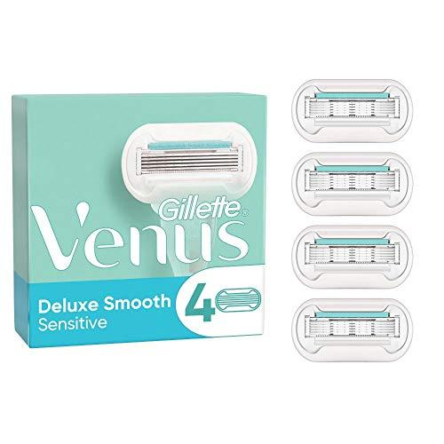 Gillette Venus Deluxe Smooth Sensitive Rasierklingen Damen (4 Rasierklingen), 5 Klingen für eine länger anhaltende, glatte Rasur, aktuelle Version