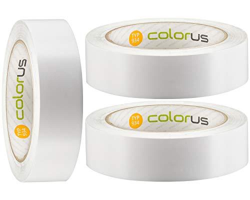 3 x Colorus Putzband PVC PLUS | Bautenschutz-Klebeband 30 mm x 33 m weiß glatt | Robustes Abdeckband für Innen und Außen | Leicht abrollbar | Fensterband mit UV-Beständigkeit
