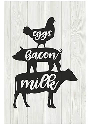 Farm Fresh Eggs Bacon Milks Wood Sign Rural Farmhouse, Poultry Marker Kitchen Decoration 8x12 inch