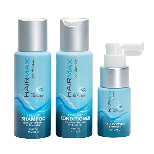 HairMax for Density 3pc Starter Kit Bio-Active Hair Therapy System for Thinning Hair, Stimul8 Shampoo, Exhilar8 Conditioner, Acceler8 Hair Booster, for Thicker Looking Hair