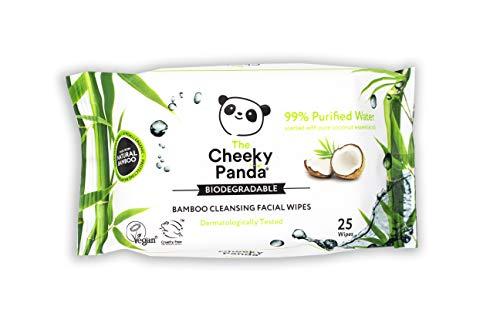The Cheeky Panda – Lingettes pour le visage, parfumées à la noix de coco   Paquet de 25 lingettes   Démaquillant, hypoallergénique, écologique, super doux, doux pour la peau et durable