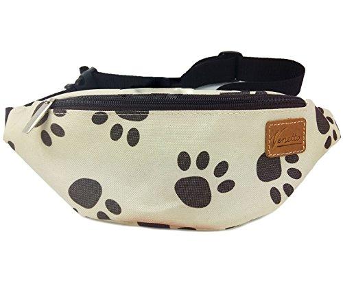 Venetto Hundetapsen Gürteltasche Bauchtasche Hüfttasche Futtertasche Reisetasche Hülle Tasche für Smartphone Hunde Tapsen, Pfoten - Motiv Leckerlitasche (Creme)
