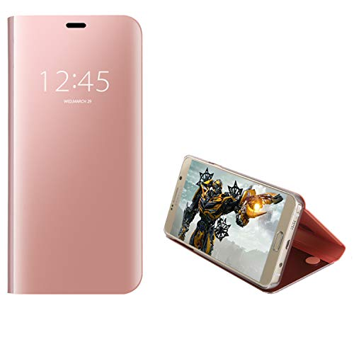 COOVY® Cover für Samsung Galaxy Note 5 SM-N920 / SM-920F Bookstyle, metallic Optik, Clear View, luxuriöses, transparentes Spiegel Fenster Hülle, Standfunktion | Farbe Rosegold