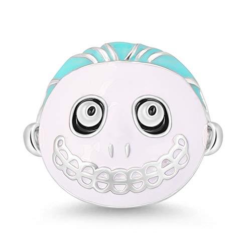 GNOCE 925 Sterling Silber Süßes Oder Saures Dreier Barrel Charm Perle Große Augen Clown Charm Bead für Halloween Laut lachen Geschenke für Männer Frauen Mädchen