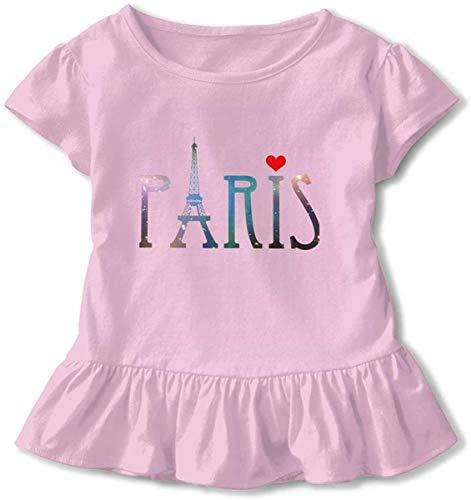 Galaxy Paris Tour Eiffel - Robe bébé fille à volants - Manches courtes - Rose - 5-6 ans