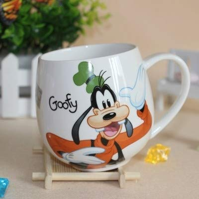 LIZHIOO Karikatur Mickey Minnie Cups Keramik Tassen 320ml Small Size Kreative Mode Paare Büro Kaffee-Milch-Tee-Schalen (Color : Goofy)