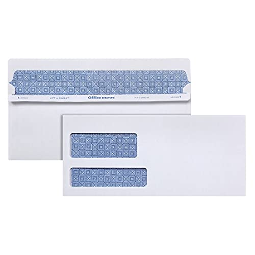 Office Depot 100% Recycled Lift Press(TM) Double-Window Envelopes, 10 (4 1/8in. x 9 1/2in.), White, Box of 500, 76133