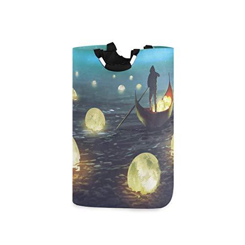 COFEIYISI Wäschesammler Wäschekorb Faltbarer Aufbewahrungskorb,Nachtlandschaft eines Mannes Ruderboot unter vielen leuchtenden Monden, die das Meer schwimmen,Wäschesack - Wäschekörbe - Laundry Baskets