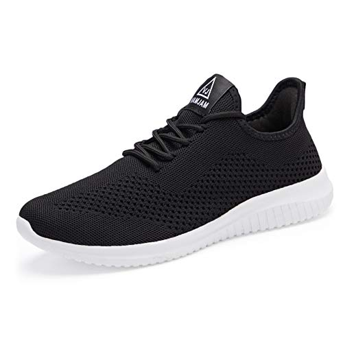 VAMJAM Mens Running Shoes Workout Walking Shoes Atheletic Fashion Sneakers Gym Tennis Slip On Comfortable Lightweight Mesh Shoes Black Size 9.5