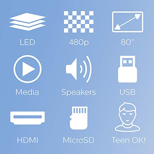 Philips NeoPix Easy Mini Video Projector, 80 Inch Display, Built-in Media Player, HDMI, USB, microSD, 3.5mm Audio Jack Photo #4