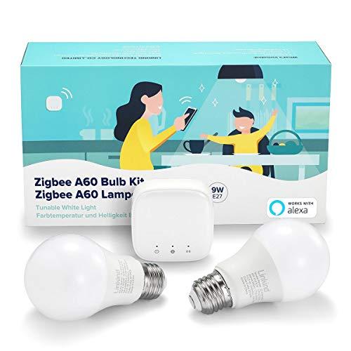 Linkind Smart Zigbee E27 Kit de bombilla LED, 9 W para reemplazar 60 W incandescente, 2 luces de tornillo E27 regulables y sintonizables y 1 Mini Hub, compatible con Alexa, Asistente de Google