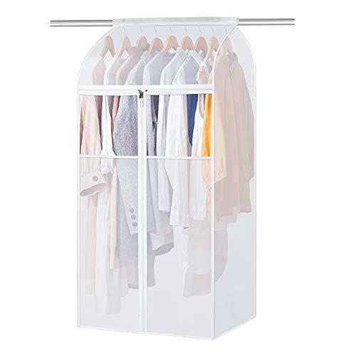 Univivi Kleidersäcke Transparent , 60 * 109 cm Kleidersack groß mit Klettverschluss und Reißverschluss , Kleiderhülle Passend für Kleider, Anzüge, Mäntel, Jacken, Hosen