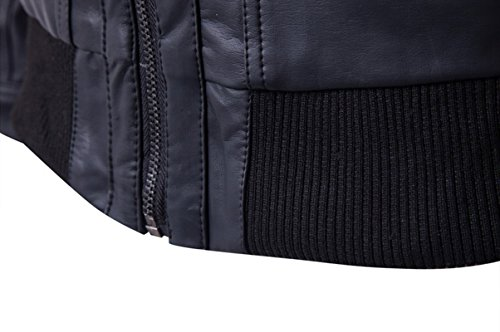 Beninos Men's Faux Leather Two-Pocket Trucker Coat with Detachable Hood (PY31, M) Black