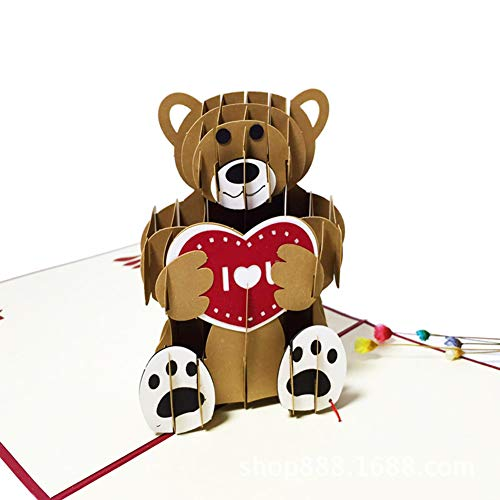Infgreate -Valentine's Day PresentRomantic 3D Bear Love Heart Pop Up Greeting Card Anniversary Bear