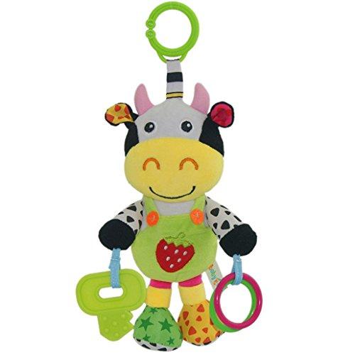 Babyfans Happy Cherry - Juguetes Musicales Colgantes para cochecitos cunas de Peluche Animal Infantil para Arrastrar con Sonidos Mordedor para Bebés recién Nacidos Niños niñas - Vaca