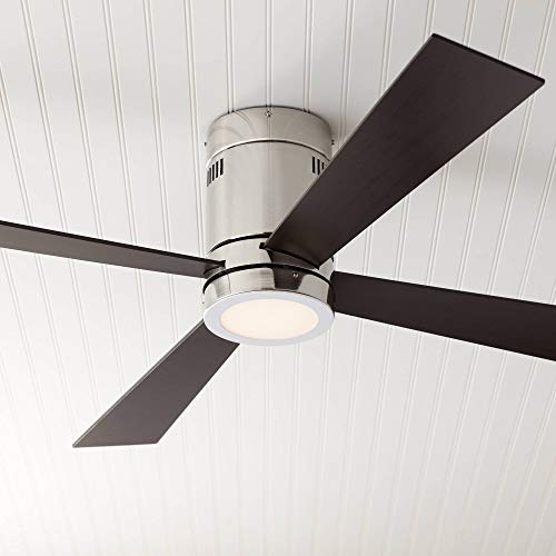 "52"" Revue Modern Hugger Low Profile Ceiling Fan with Light LED Remote Flush Mount Brushed Nickel Oiled Bronze for Living Room Kitchen - Casa Vieja"