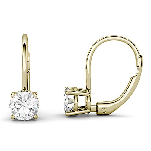 14K Yellow Gold Moissanite by Charles & Colvard 5.0mm Leverback Earrings, 1.00cttw DEW