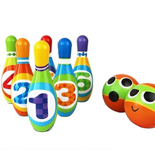 LIUCHANG Juego de bolos de juguete incluye 10 pines y 2 bolas de juguete con caja de almacenamiento para niños al aire libre juegos de interior liuchang20