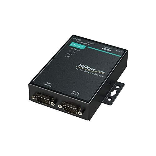 Moxa NPort 5210A - 2 Ports Device Server, 10/100M Ethernet, RS-232, DB9 Male, 15KV ESD, 0.5KV Serial Surge, 12~48VDC, 0~60°C