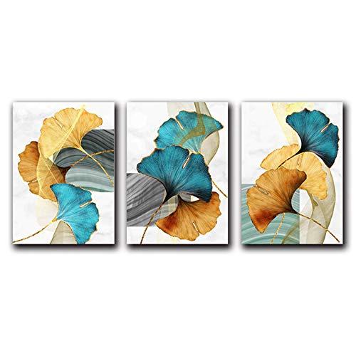 CHENSH Blaugrün Gelbgold Pflanzenblatt Abstraktes Poster Nordischer Leinwanddruck Wandkunst Gemälde Modernes Bild Wohnzimmerdekoration 50x70cmx3 Kein Rahmen