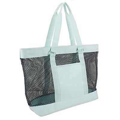 Eastsport Mesh Tote Beach Bag, Graphite/Icy Blue