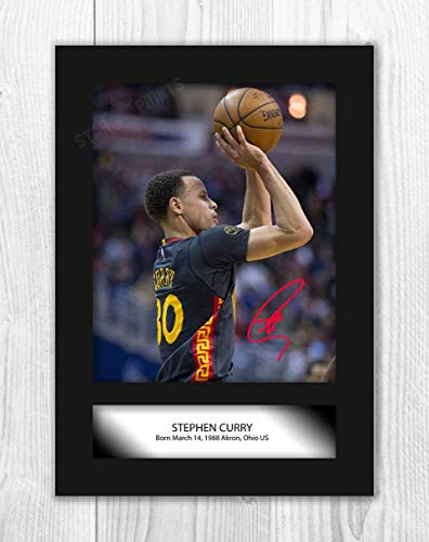 Póster de Stephen Curry (2) de la NBA Golden Sate Warriors (foto A4 sin marco)
