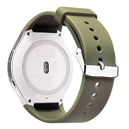 V-MORO Straps Compatible with Samsung Gear S2 Bands Soft Silicone Replacement Wristband with Adapters for Gear S2 SM-R720/SM-R730 Smartwatch (Olive Green)