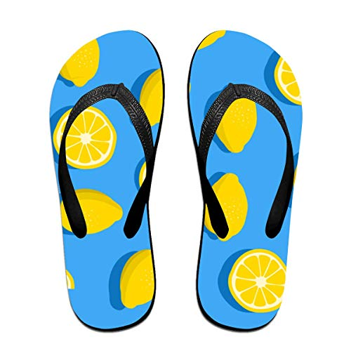 Zitronen Wallpaper Unisex Erwachsene Casual Flip-Flops Sandale Pool Party Hausschuhe Badezimmer Wohnungen Open Toed Slide Schuhe L